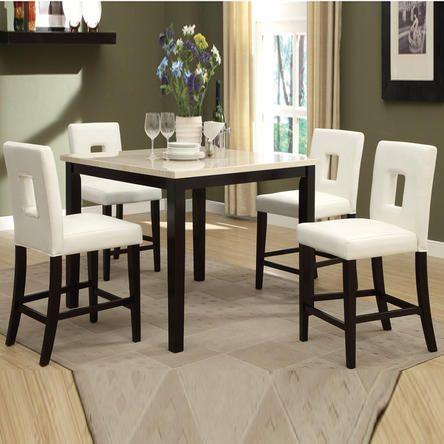 poundex poundex 5 pc cream stone slate faux marble table bycast rh pinterest com