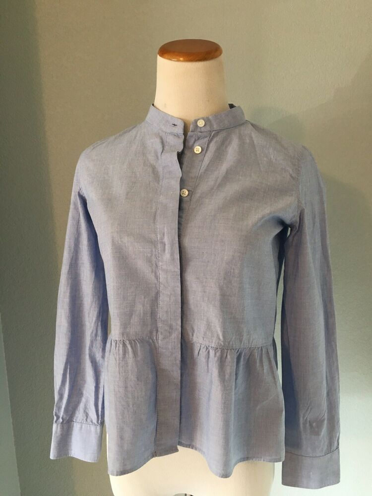 dc580938af7f56 Madewell Women's Chambray Peplum Button Front Blouse Size XXS #Madewell # Blouse Denim Button Up