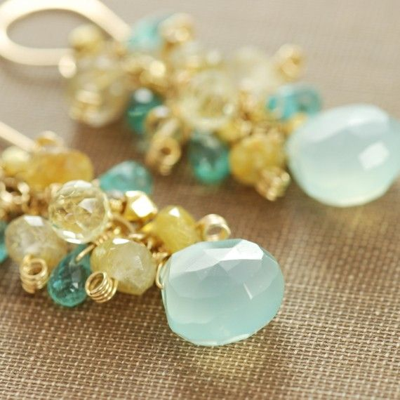 Gemstone Earrings Citrine Quartz Aquamarine Chalcedony by aubepine, $91.00