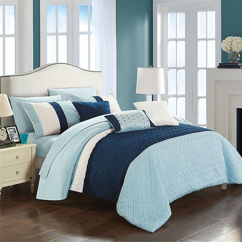 Chic Home Shai 10Piece Queen Comforter Set in Blue
