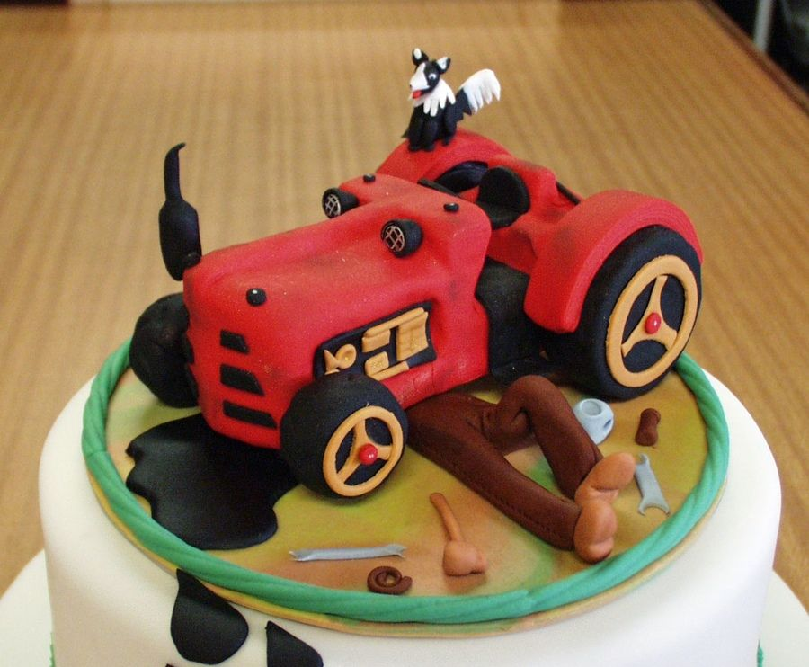 Miraculous Old Vintage Tractor Birthday Cake With Images Tractor Birthday Funny Birthday Cards Online Fluifree Goldxyz