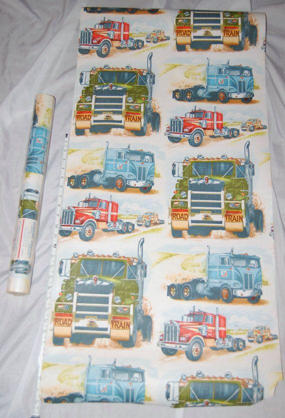 Vintage Wallpaper 70s Boy S Room Trucks Big Rigs By Presouled
