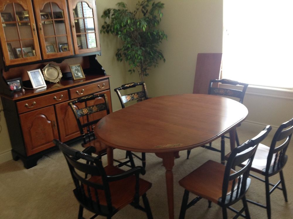 Vintage Hitchcock Dining Room Set Table W Matching Hutch 6 Chairs