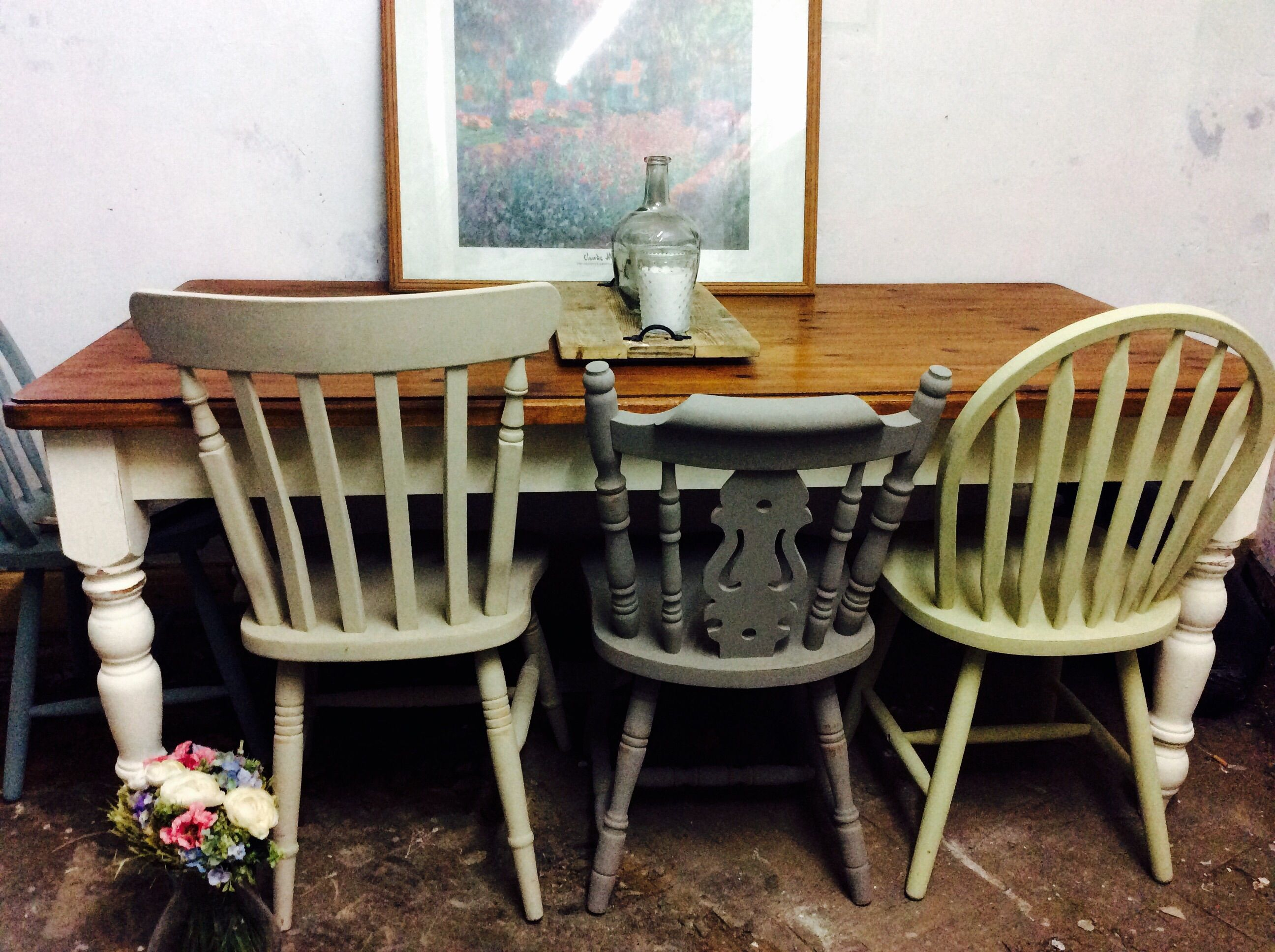 6 ft farmhouse table chalked in country cream