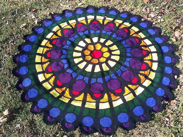 Free Crochet Pattern For Cathedral Window Afghan : Cathedral Rose Window Afghan Pattern by Julene Watson ~ So ...