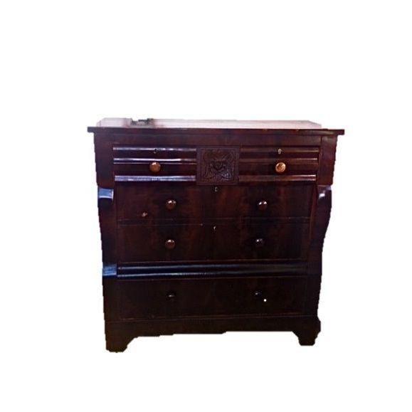 Image of Antique Empire Dresser w/Flame Burl Secret Drawer