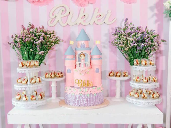 sweet table from a pink princess baptism party via karas party ideas the place for