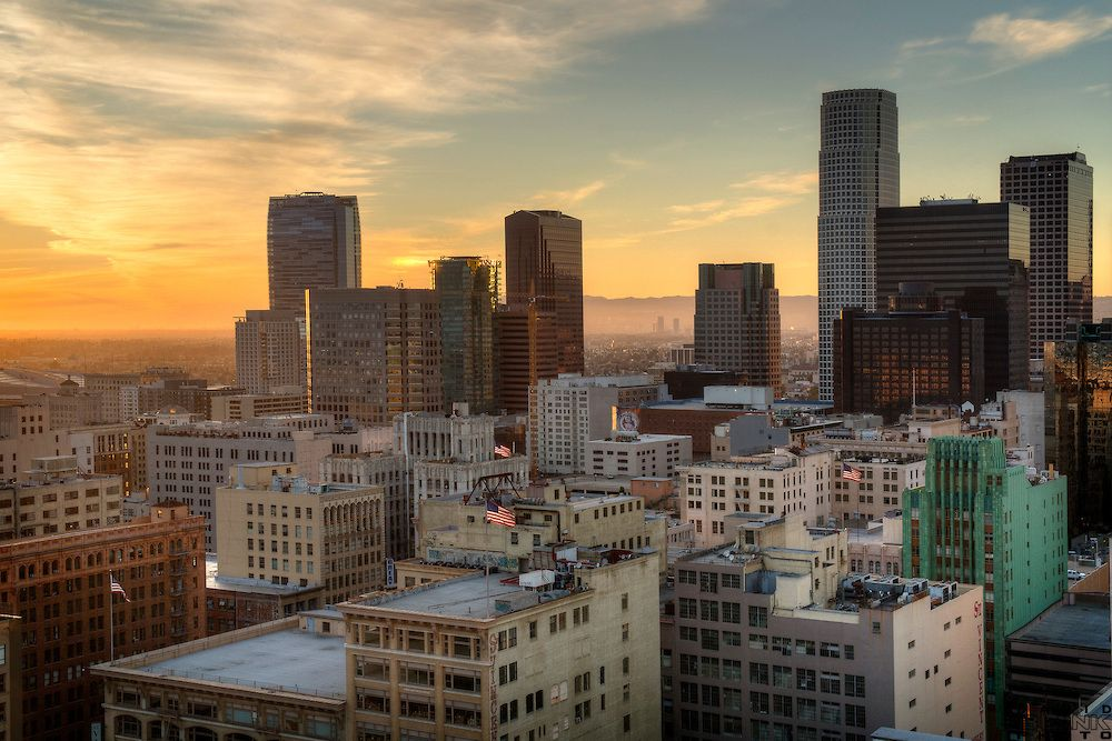 Sunset View Of Los Angeles Skyline Los Angeles Skyline Sunset Views Skyline