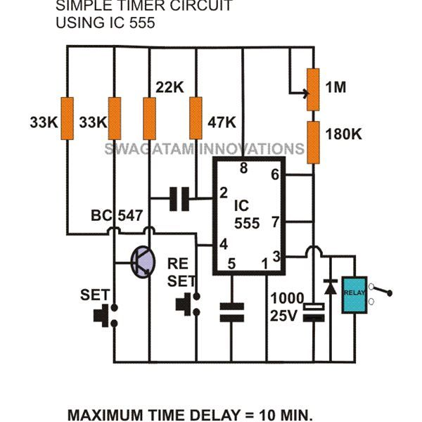 adjustable timer circuit with 555 ic