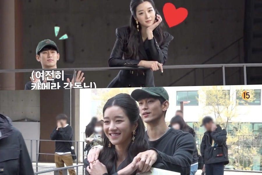 "Watch: Kim Soo Hyun Pretends To Be A Cameraman For Seo Ye Ji Behind The Scenes Of ""It's Okay To Not Be Okay"""