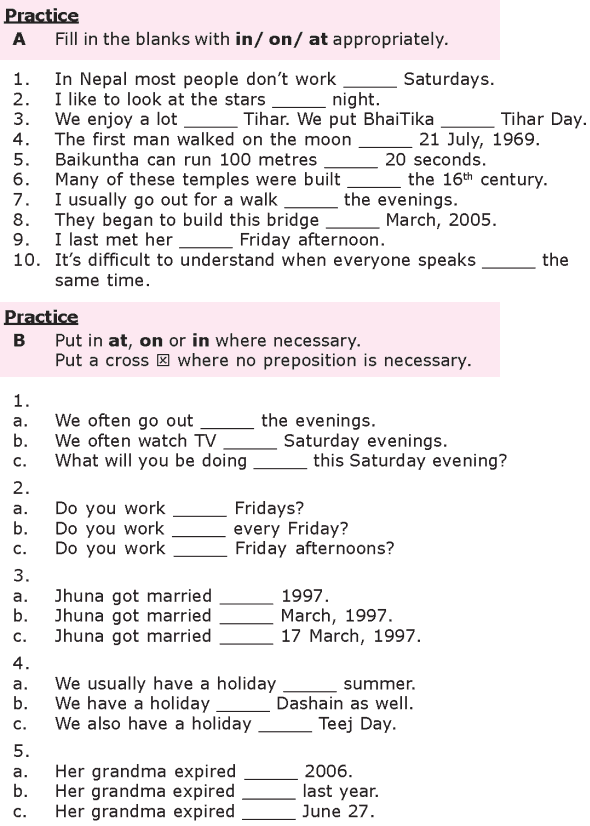 Grade 8 Grammar Lesson 27 At, on and in prepositions of time (2 ...