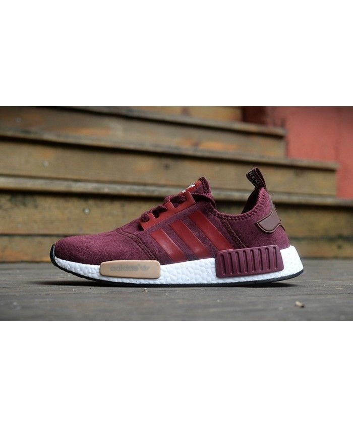 Adidas NMD Fur Burgundy Dark Red Shoes Very color on the innovation, very  durable