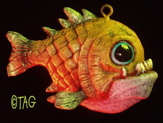 Gold Piranha Ornament by tomtaggart on Etsy, $50.00
