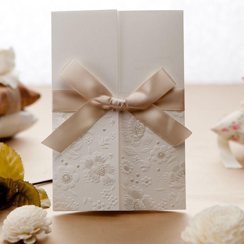 2014 New Design White & Gold Laser Cut Wedding Invitations ...