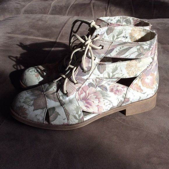 Jellypop Alaina booties -NEVER WORN Really cute floral Jellypop booties, lace up.  Canvas fabric.  NEVER WORN.  030307 Jellypop Shoes Ankle Boots & Booties