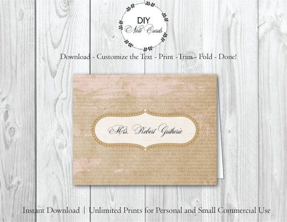 FRENCH PAPER - DIY Printable Customizable Note Card Template