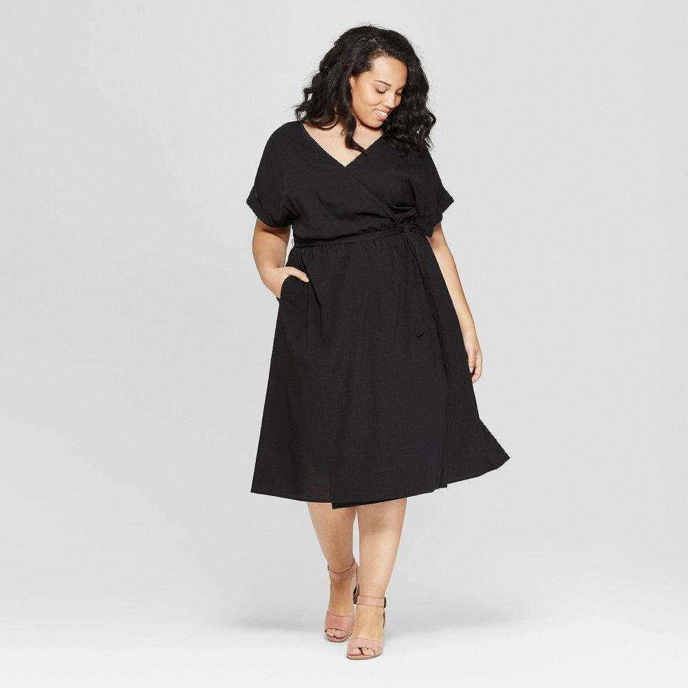 3768239f96eb Women s Plus Size Short Sleeve V-Neck Midi Dress - Universal Thread Black 1X