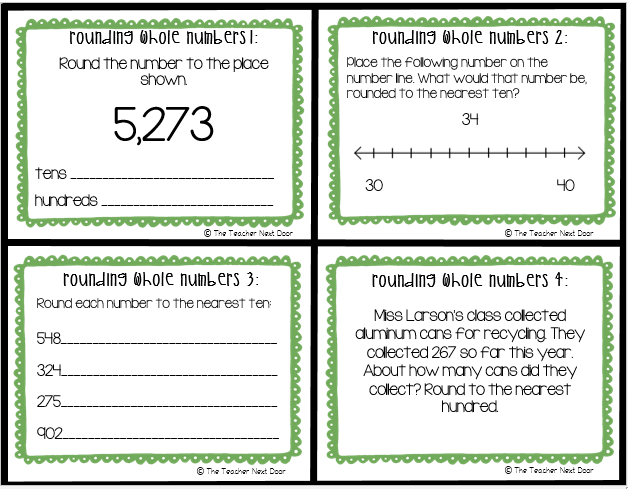 Rounding Whole Numbers Task Cards 3rd Grade Rounding
