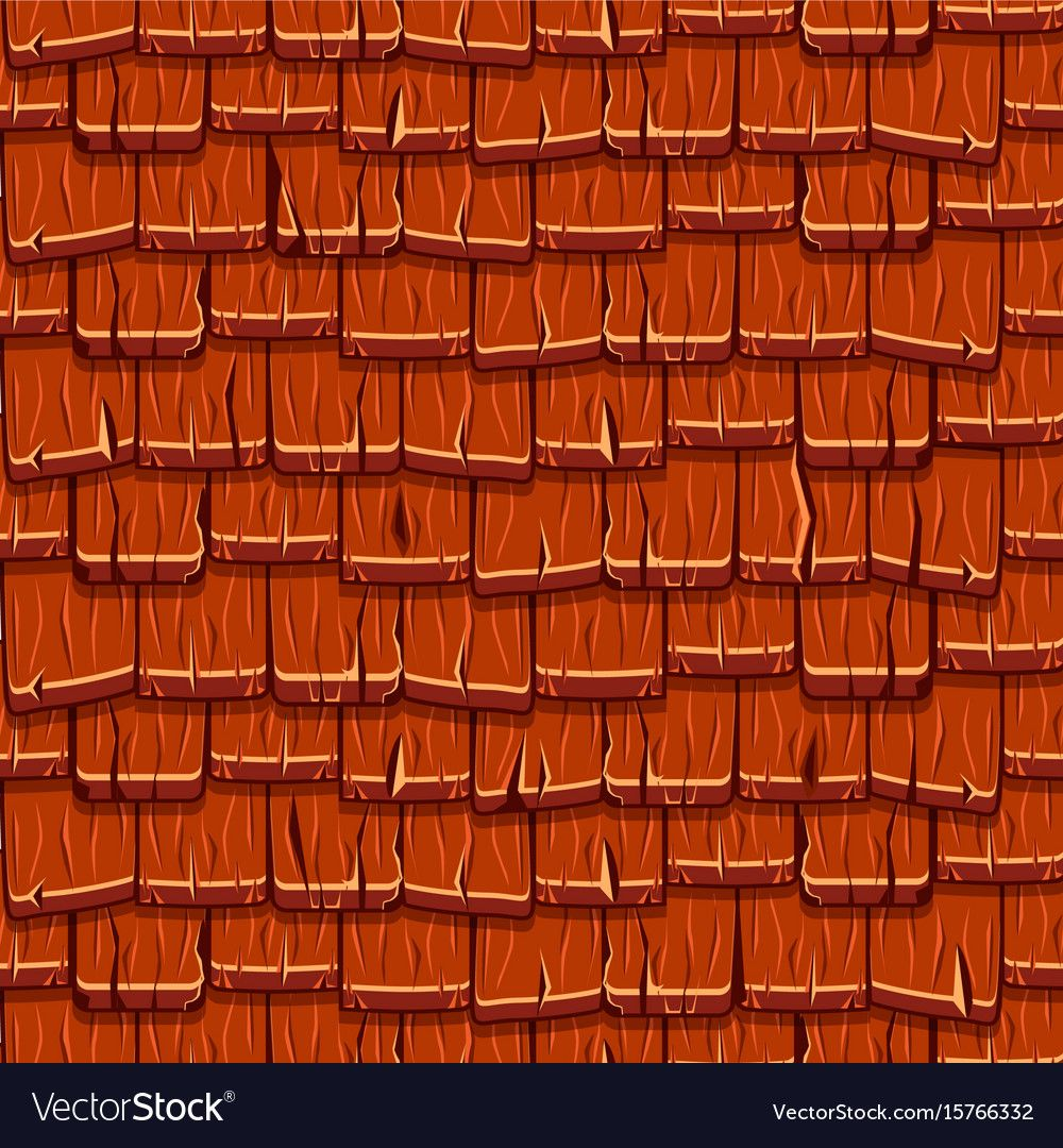 Seamless Old Red Wood Roof Tiles Vector Image On Vectorstock In 2020 Wood Roof Roof Tiles Tiles