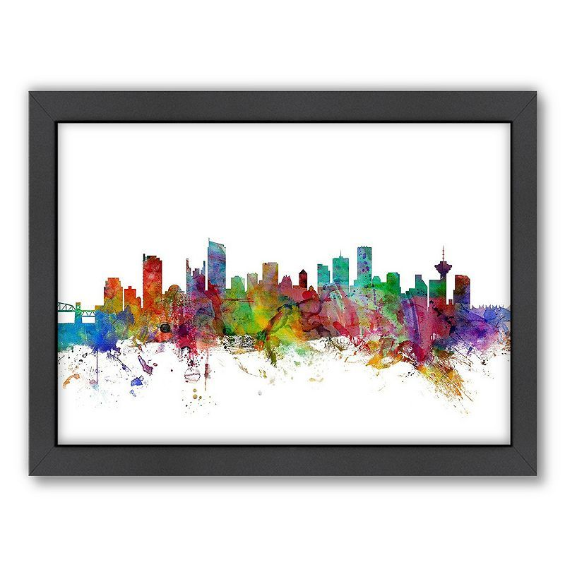 Americanflat Michael Tompsett ''Vancouver Skyline I'' Framed Wall Art, Multicolor