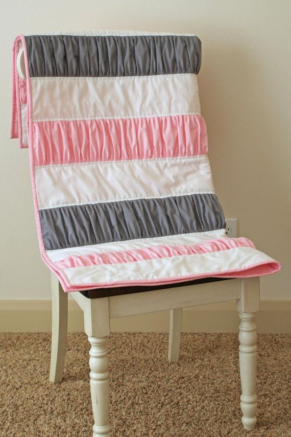 Ruffle Quilt Pink Gray Grey Girl Blanket Throw Cot Bed Cotton Modern - Quilted-blankets-for-the-bed