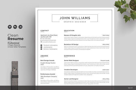 Resume/CV by ThemeDevisers on @creativemarket Ready for Print Resume - example of simple resume for job application