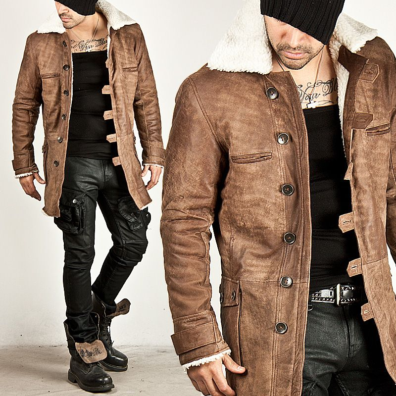 Outerwear - UNBEATABLE MULTI-BUTTON CLOSURE BROWN COW LEATHER LONG ...