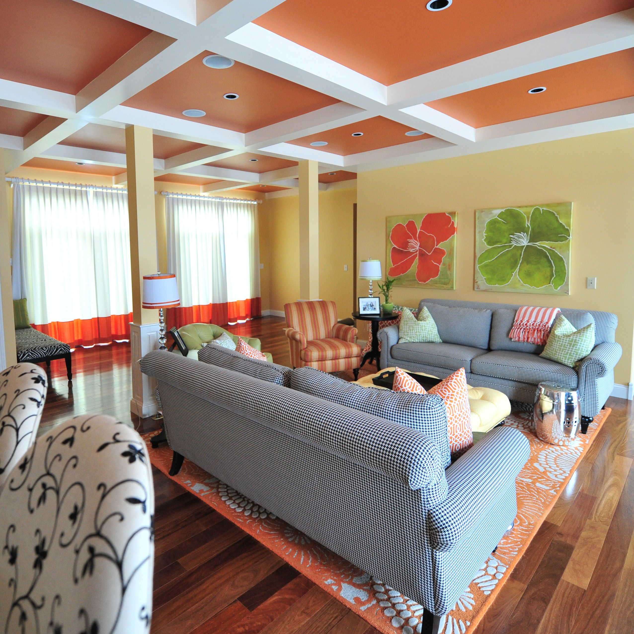 Color Block Drapery Panels Coffered Ceiling Interior Design By Alisha