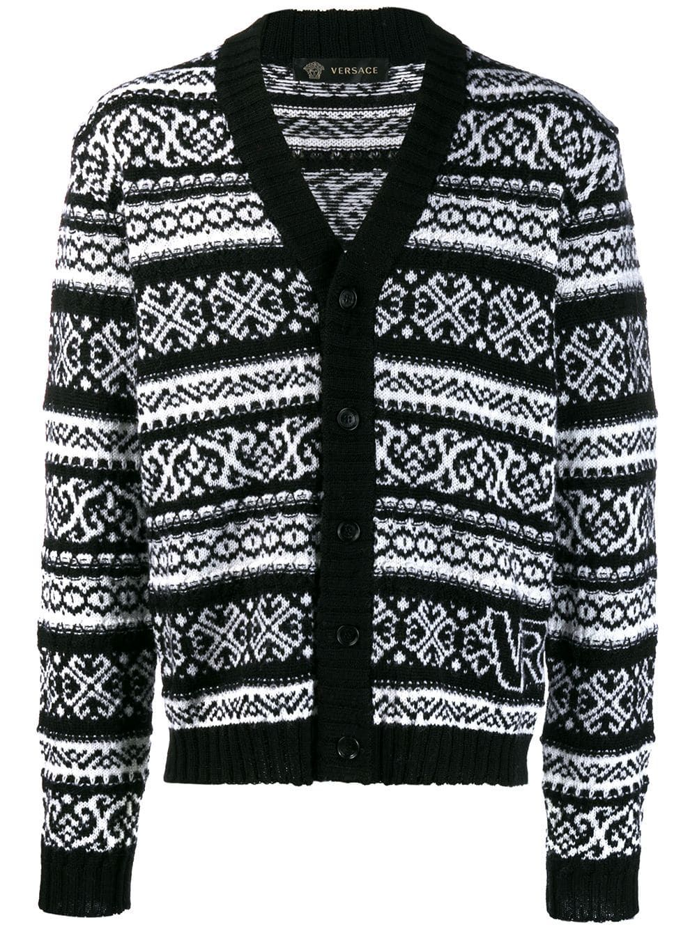 Versace Intarsia Knit Cardigan | Knit cardigan, Versace