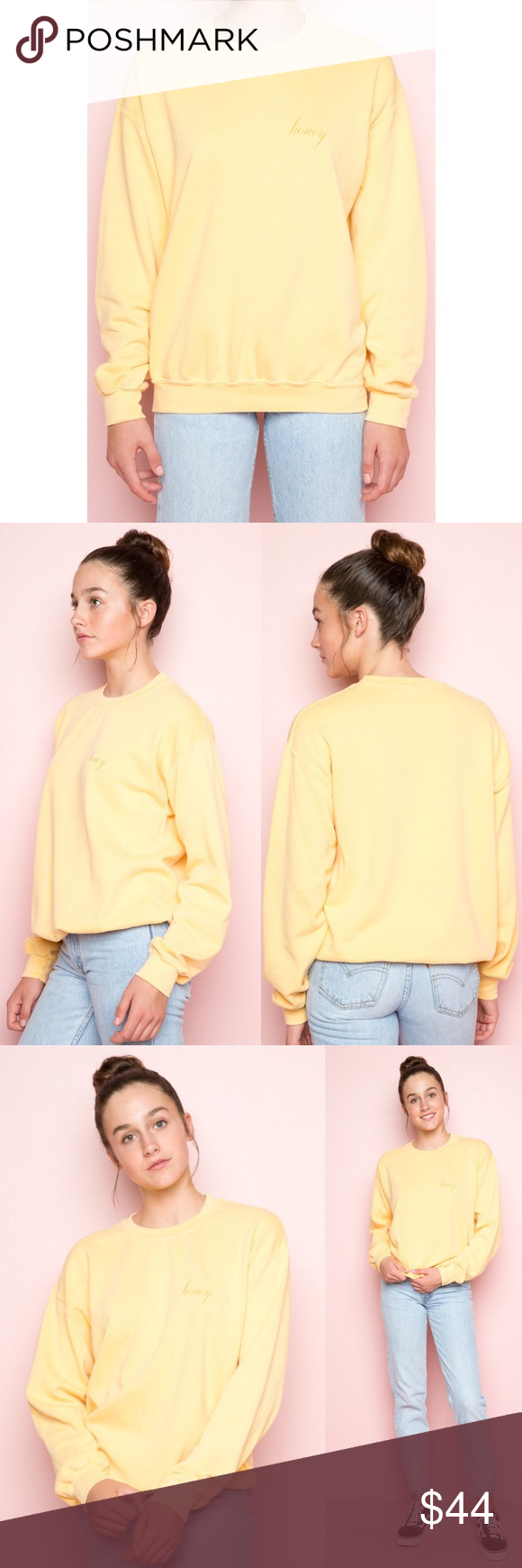Brandy Melville Erica Honey Embroidery Sweatshirt Relaxed Fit