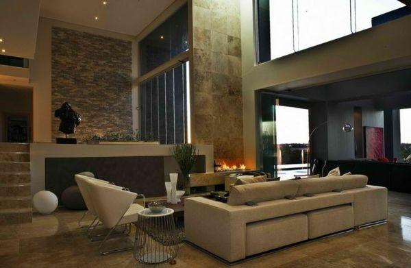 luxus wohnzimmer weiße möbel steinwände