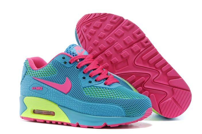 Nike Air Max 90 KPU TPU En Ligne Chaussures De Sport Vert Et Jaune Enfant  Rose