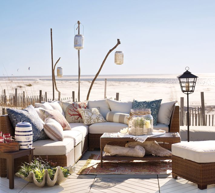 Designing Outdoor Living Room W/ Palmetto Sectional By Pottery Barn