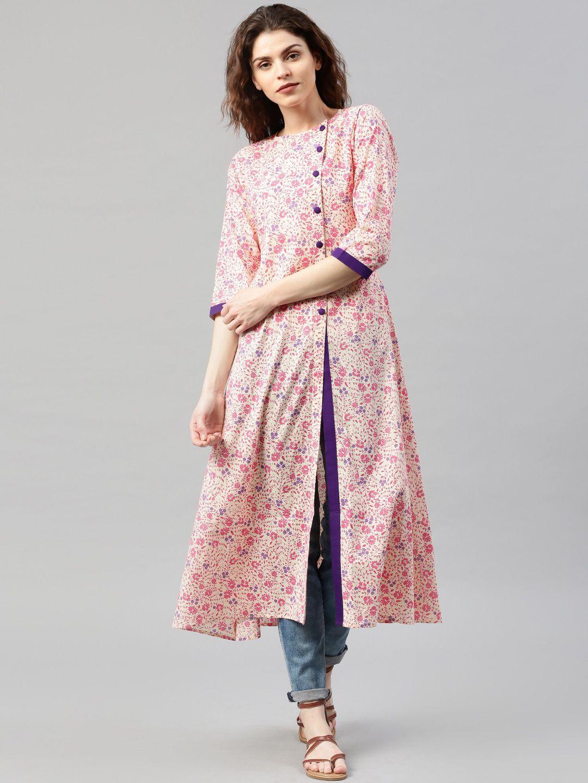 3031563bb Libas Cream-Coloured   Pink Floral Print A-Line Kurta