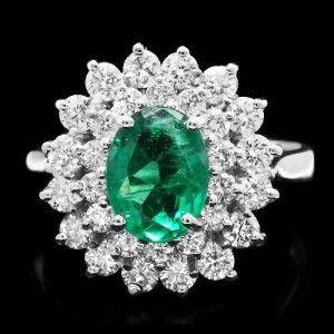 Beautiful 1.50 ct EMERALD and Diamond Engagement / Wedding Ring.
