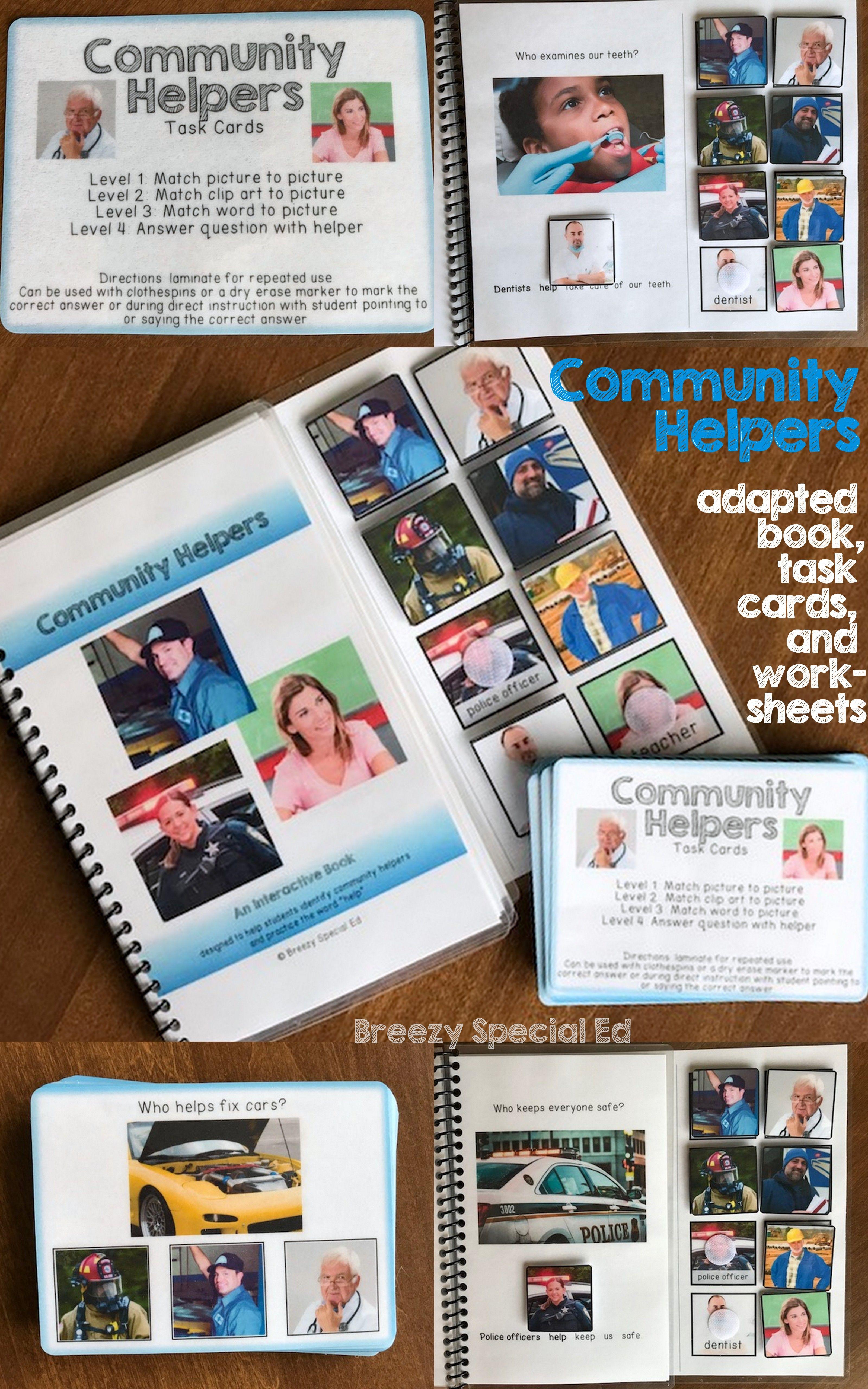 Community Helpers Adapted Book Task Cards Worksheets
