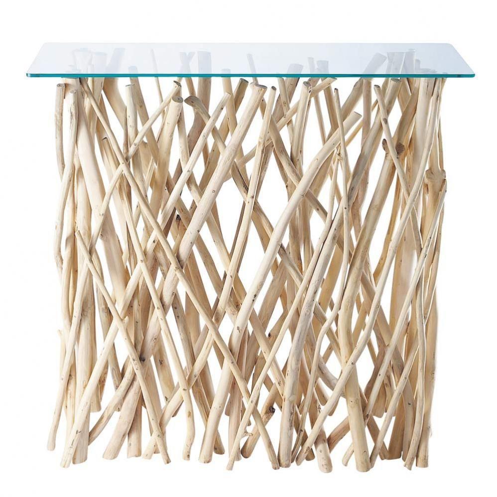 Table console en teck et verre L 100 cm Rivage | déco | Pinterest ...