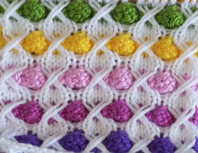 Fabrication de modèle de tricot de boules colorées   – Tığ işleri