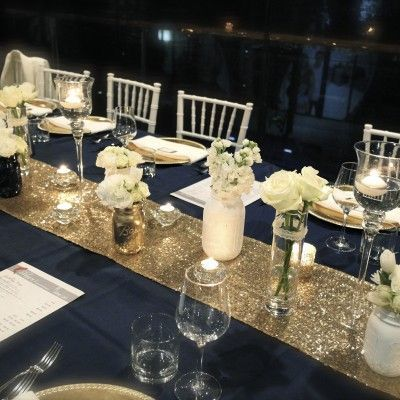 Pin By Brigitte Ullrich Twitty On Plates Champagne Wedding Decorations Wedding Decorations Table Settings Navy Blue And Gold Wedding