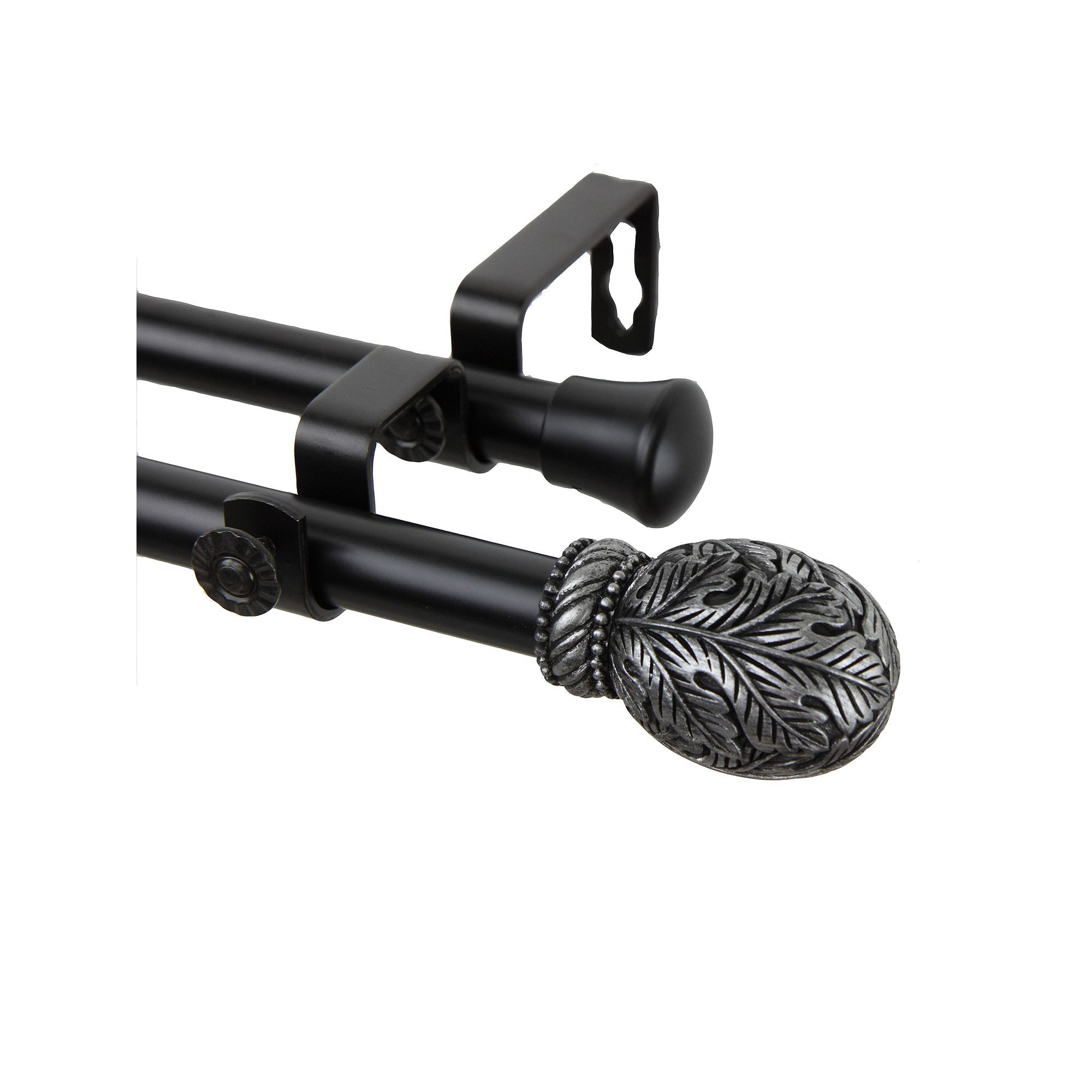 Rod Desyne Forest Adjustable Double Curtain Rod Black Double