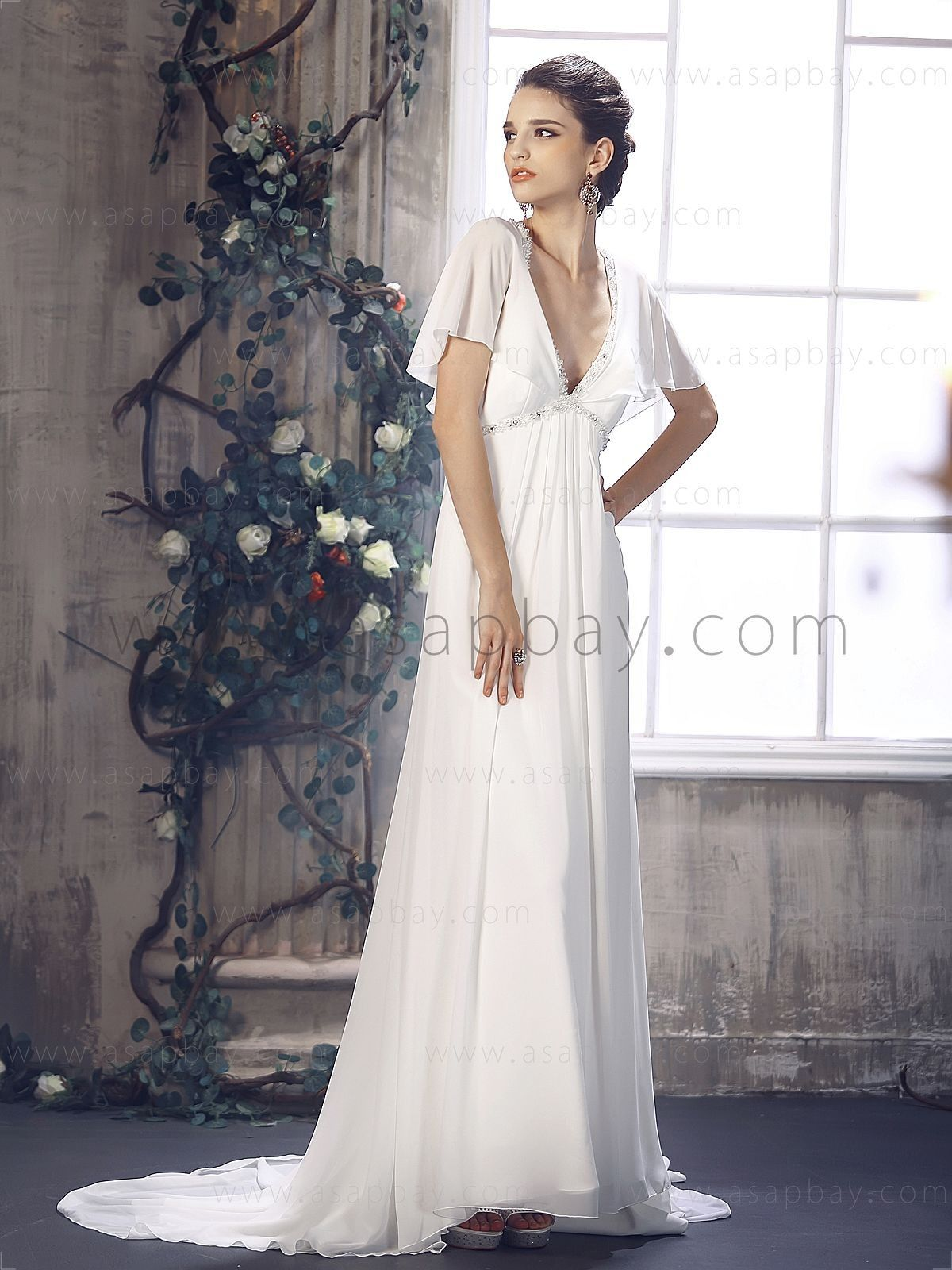 V neck ivory chapel train sheath column wedding dress b