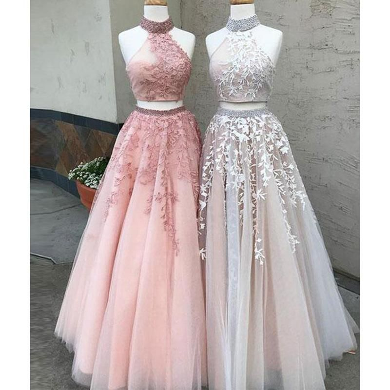 LM0236 Two Pieces Prom Dresses Halter Formal Wear, 2018 Long Party ...
