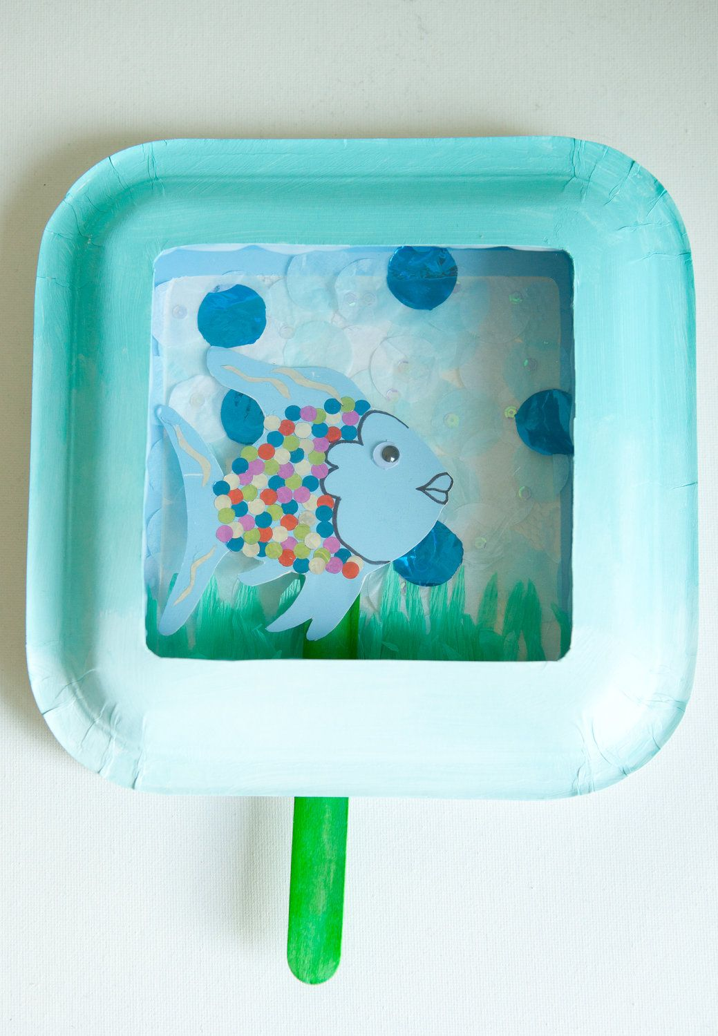 Rainbow Fish Diorama Kids Craft Kit Puppet Create Along While You Read For Toddlers Birthday