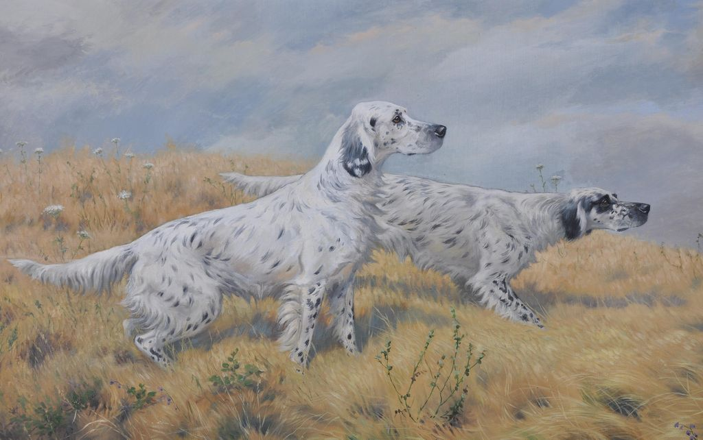 """""""Setters in the Field On Point"""" by Boris Riab. from cascadecollection on Ruby Lane"""