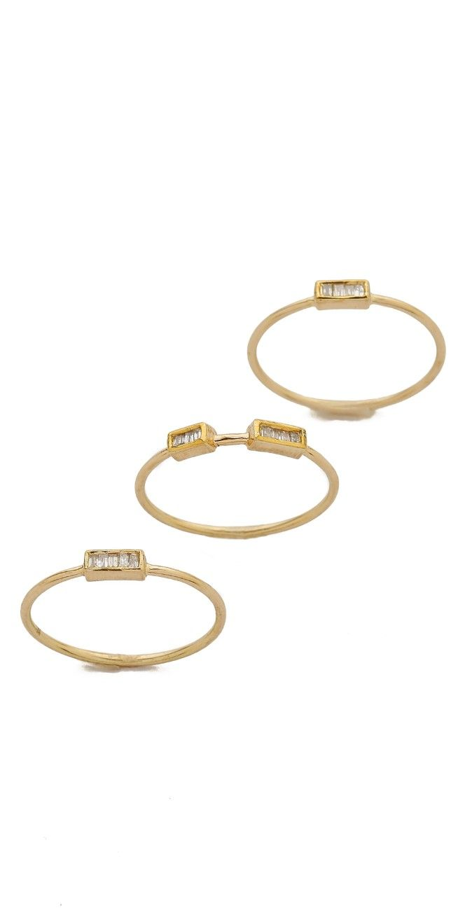 Maiyet 3 Baguette Stacking Rings   SHOPBOP