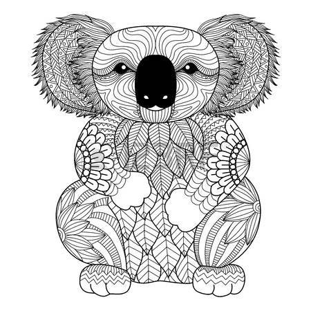 Dibujo zentangle Koala por página para colorear, camisa efecto de ...