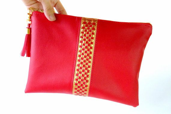Red Gold Woven Vegan Leather Clutch Bag Elegant Evening by Qmuro