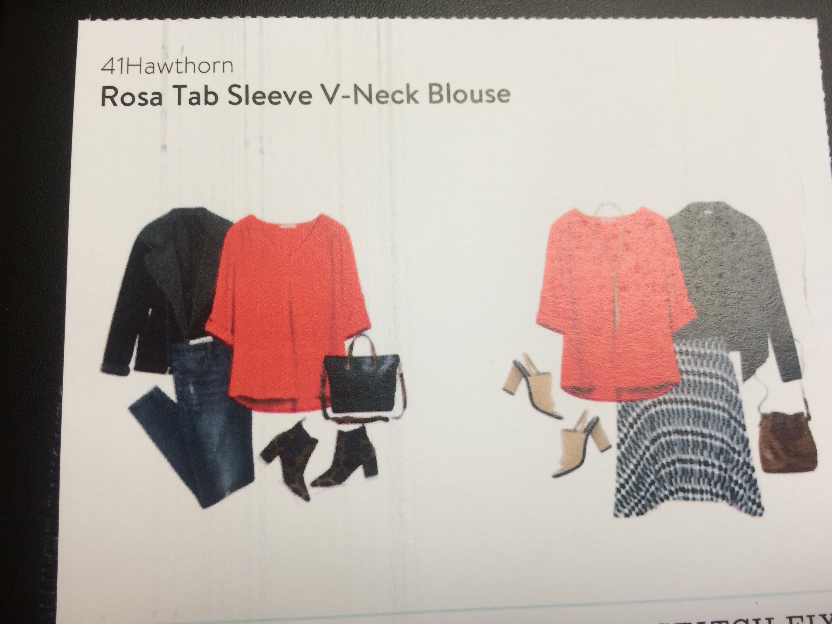 41 Hawthron Rose Tab Sleeve V-Neck Blouse. LOVE this red Stitch Fix blouse.  Pair with jeans or black leggings (and some leopard flats).