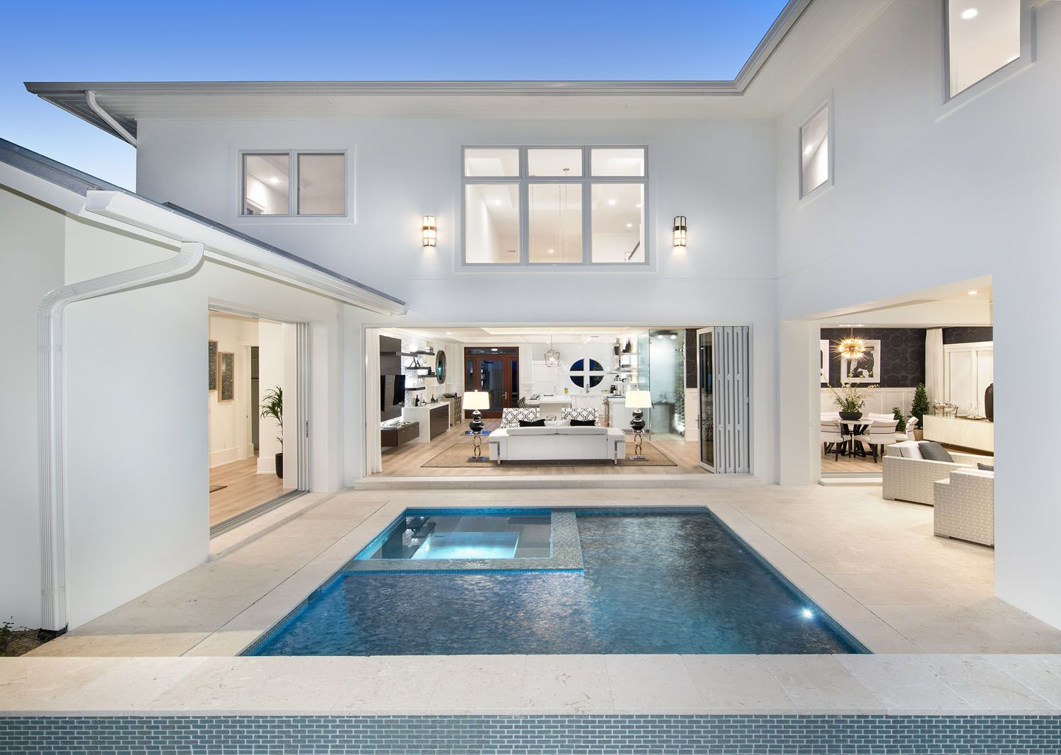 This Is Kind Of Similar To The L Shape House Plans I Like With A Small Pool I Like The Folding Doors House Residential House Plans