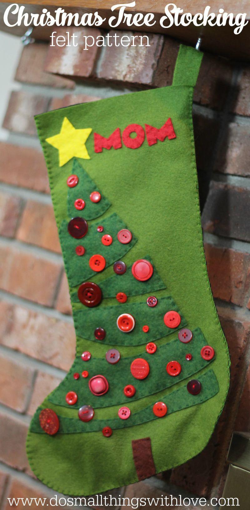 Christmas tree felt stocking pattern diy ideas